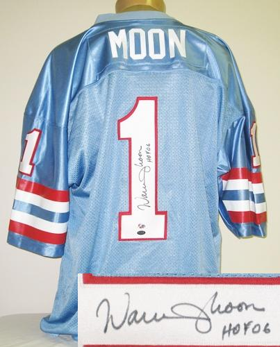 Warren Moon Autographed Houston Oilers Blue Jersey